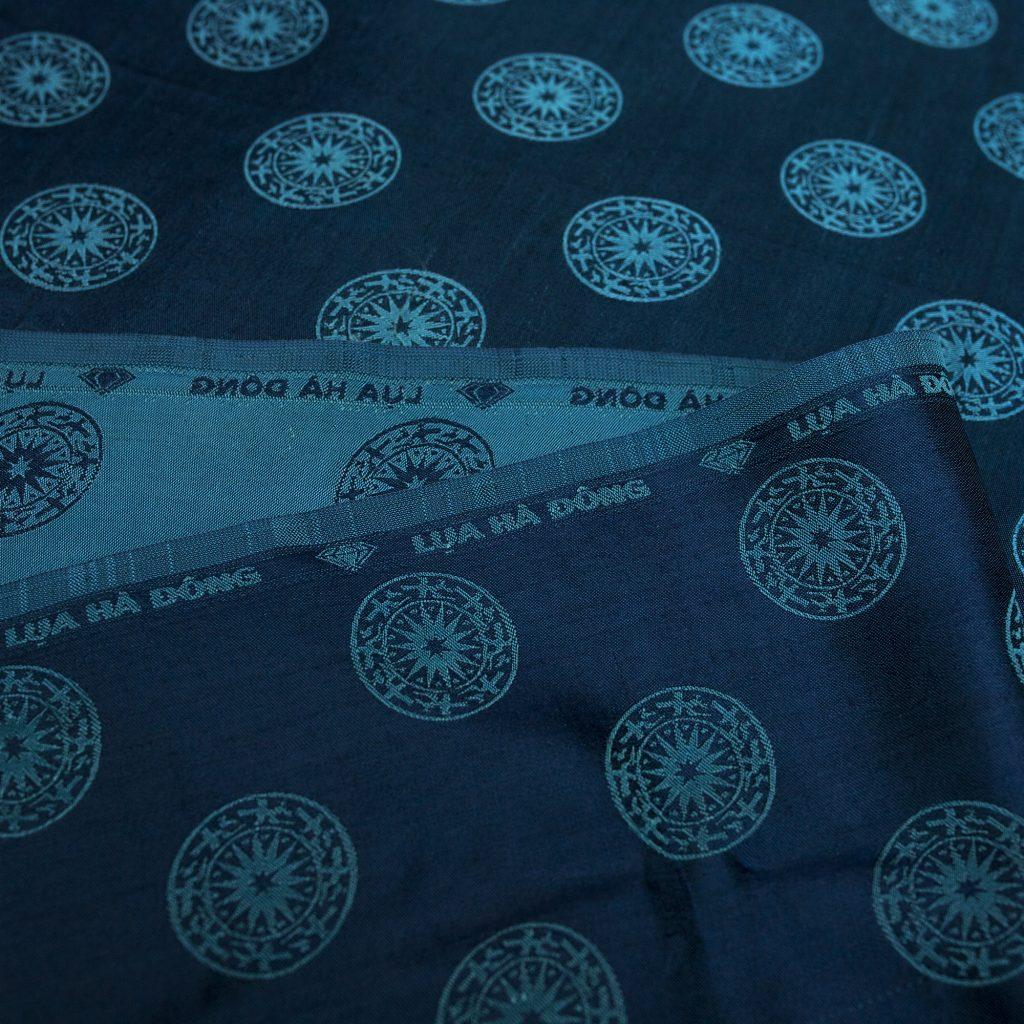 vải lụa satin tơ tằm đồng xu - xanh cổ vịt