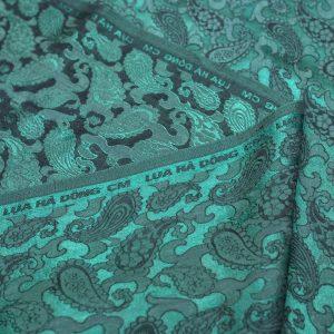 vải lụa satin tơ tằm đuôi công - Xanh đen 01