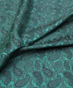 vải lụa satin tơ tằm đuôi công - Xanh đen 03