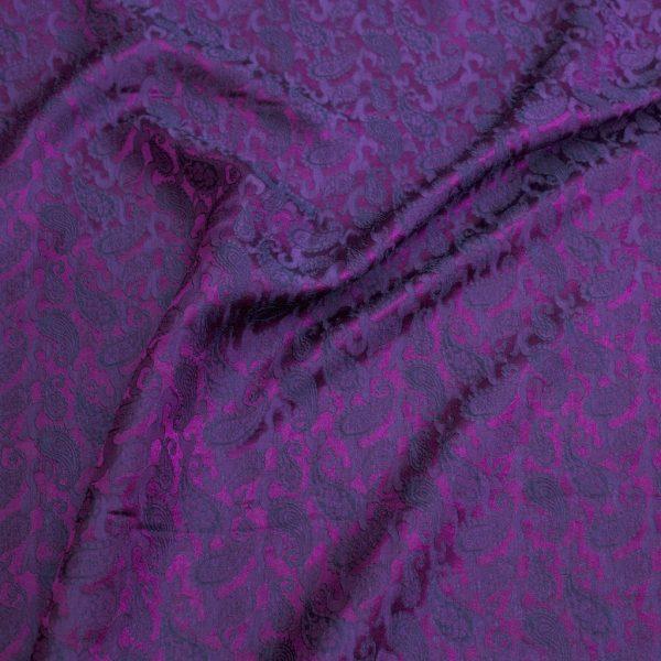 vải lụa satin tơ tằm hoa công – màu tím 03