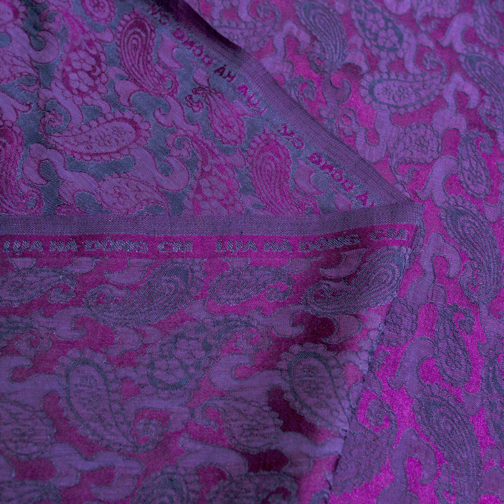 vải lụa satin tơ tằm hoa công - màu tím