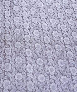 vải lụa satin tơ tằm hoa cúc - màu ghi nâu 02