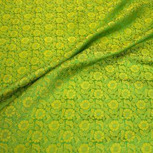 vải lụa satin tơ tằm hoa cúc - vàng cốm 2