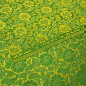 vải lụa satin tơ tằm hoa cúc - vàng cốm