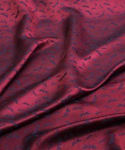 vải lụa satin tơ tằm hoa chuồn - màu đỏ lam 2