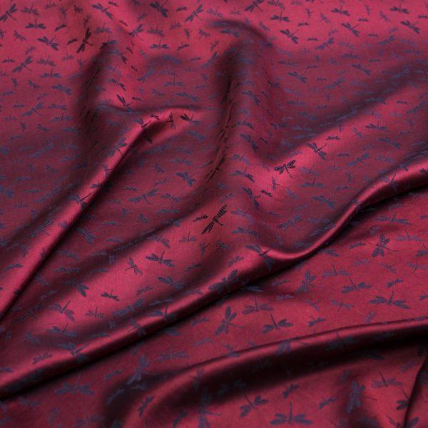 vải lụa satin tơ tằm hoa chuồn – màu đỏ lam 2