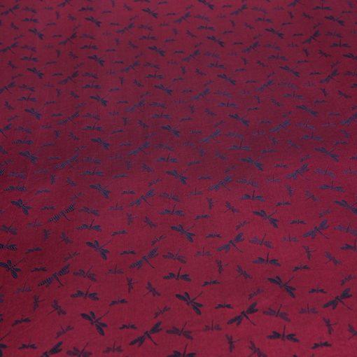 vải lụa satin tơ tằm hoa chuồn màu đỏ lam