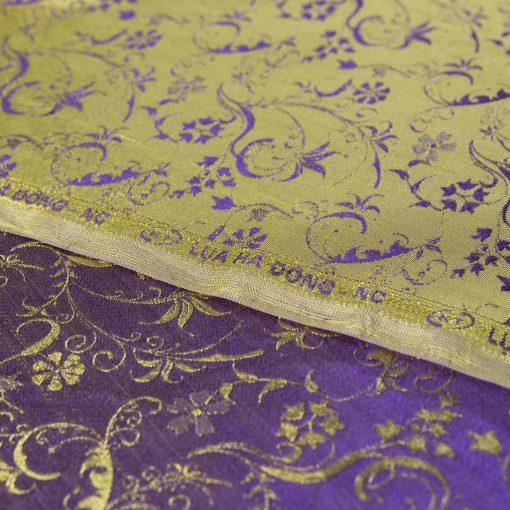 vải lụa satin tơ tằm hoa dây mới - vàng tím 2