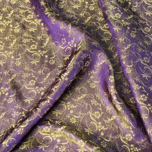 vải lụa satin tơ tằm hoa dây mới - vàng tím 3