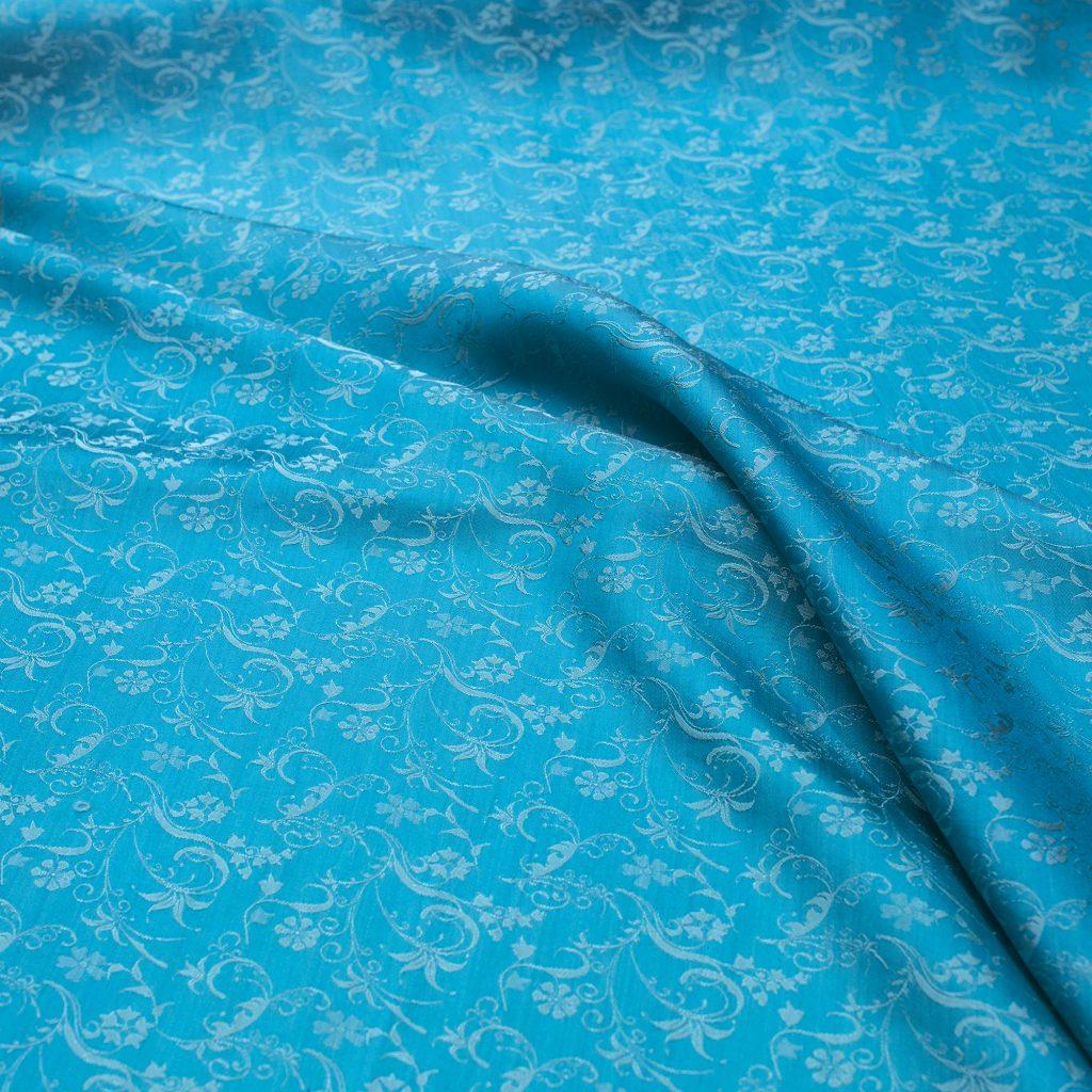 vải lụa satin tơ tằm hoa dây mới - xanh ngọc 1