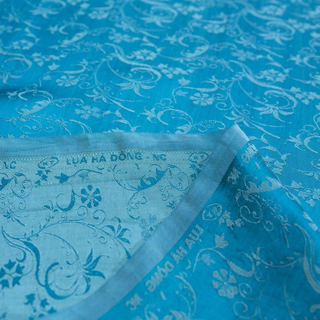 vải lụa satin tơ tằm hoa dây mới - xanh ngọc 2