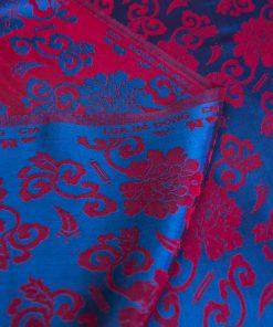 vải lụa satin tơ tằm hoa hồng - lam đỏ