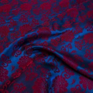 vải lụa satin tơ tằm hoa hồng - lam đỏ 3