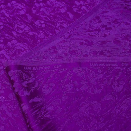 vải lụa satin tơ tằm - hoa mưa tím Huế