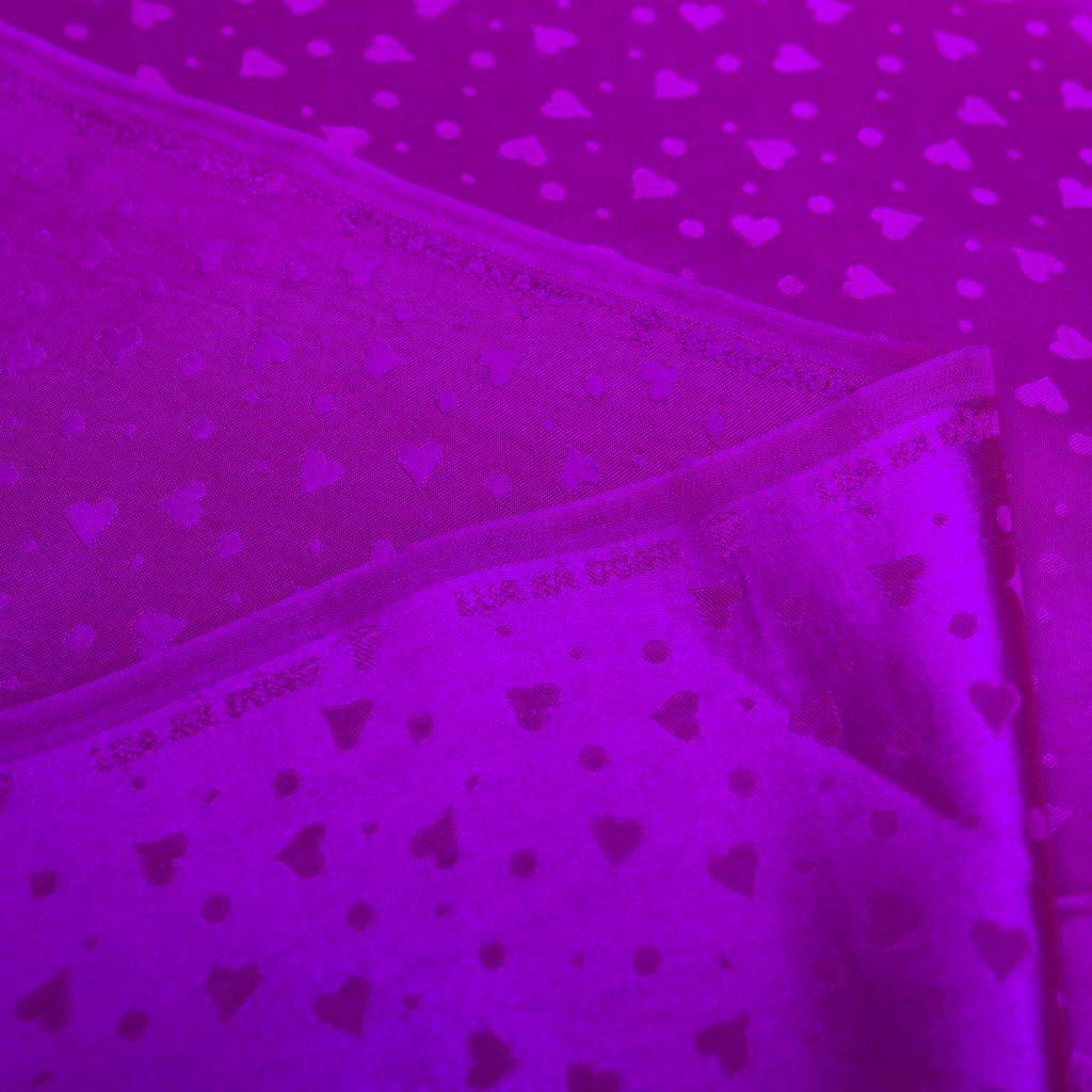 vải lụa satin tơ tằm hoa tim - Tím cà