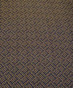 vải lụa satin tơ tằm hoa văn Triện - màu vàng đen 2