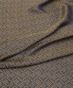 vải lụa satin tơ tằm hoa văn Triện - màu vàng đen 3