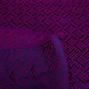 vải lụa satin tơ tằm hoa văn Triện - tím cẩm