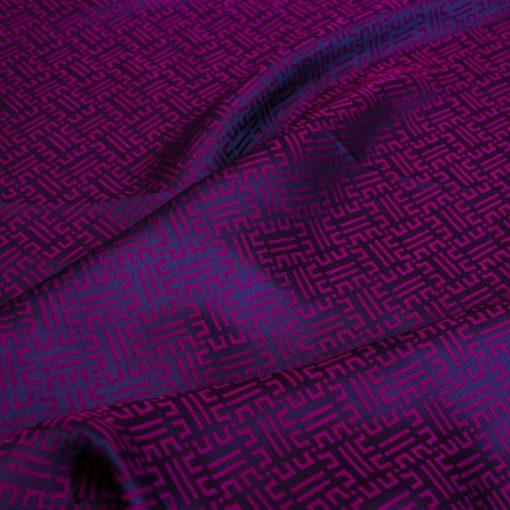 vải lụa satin tơ tằm hoa văn Triện - tím cẩm 2