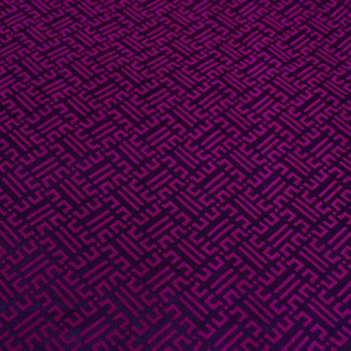 vải lụa satin tơ tằm hoa văn Triện - tím cẩm 3