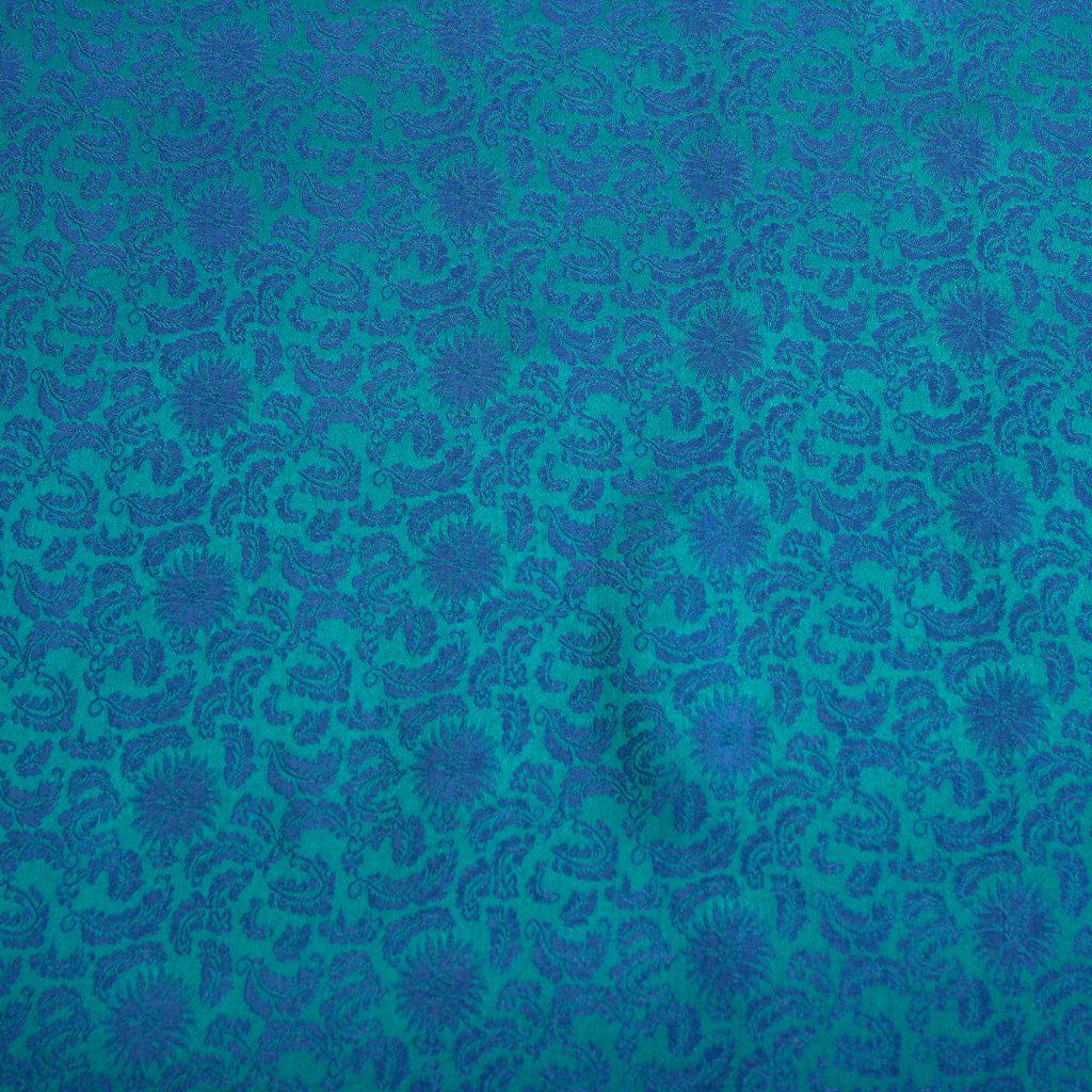vải lụa satin tơ tằm hoa xoáy - xanh cổ vịt 2