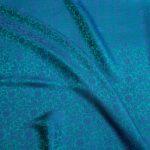 vải lụa satin tơ tằm hoa xoáy – xanh cổ vịt 3