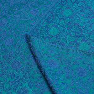 vải lụa satin tơ tằm hoa xoáy - xanh cổ vịt