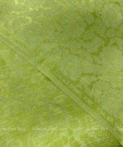 vải lụa satin tơ tằm hoa cúc - xanh cốm 1