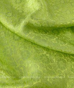 vải lụa satin tơ tằm hoa cúc - xanh cốm 2