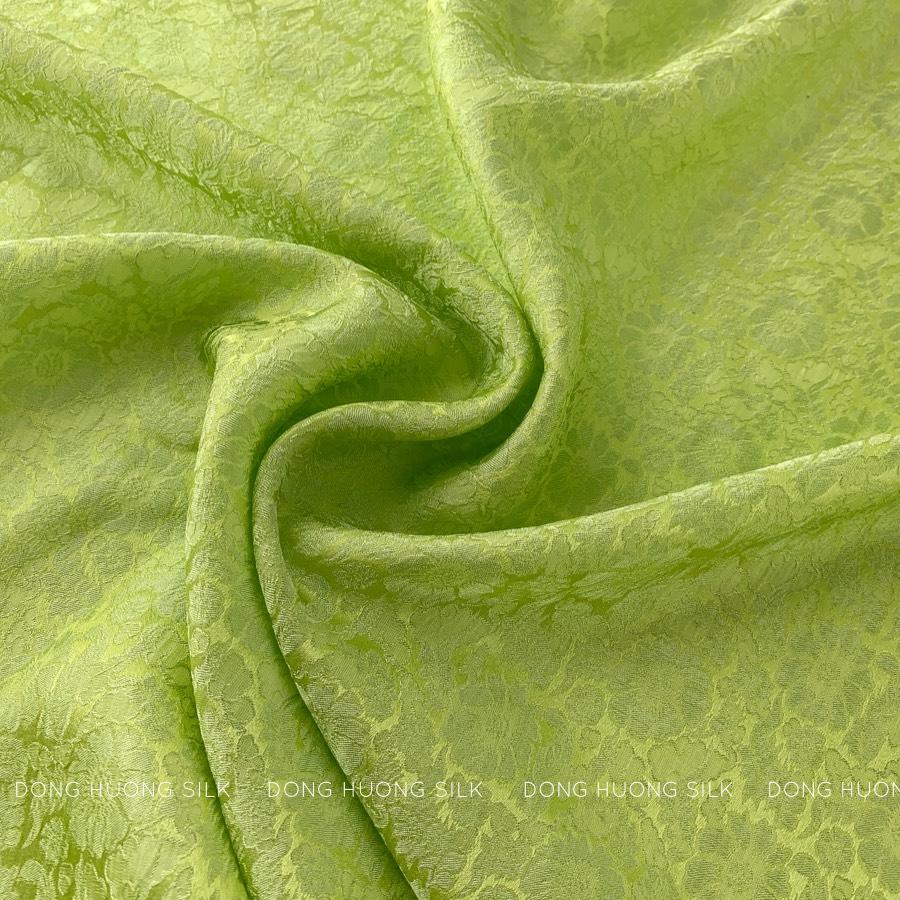 vải lụa satin tơ tằm hoa cúc - xanh cốm 3